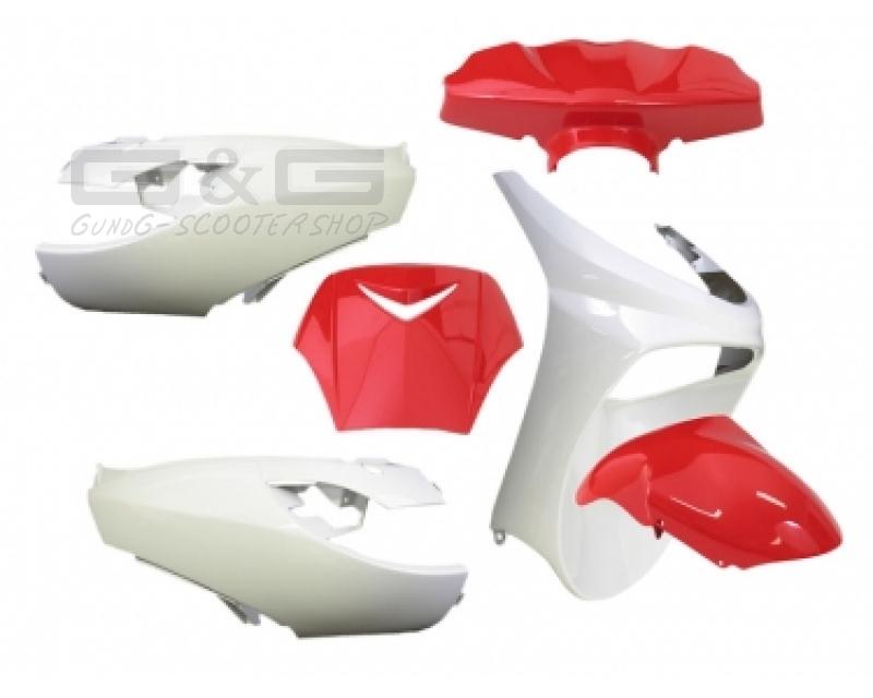 accessoire de d guisement kit 6 parties car nage en rouge blanc peugeot vivacity ebay. Black Bedroom Furniture Sets. Home Design Ideas
