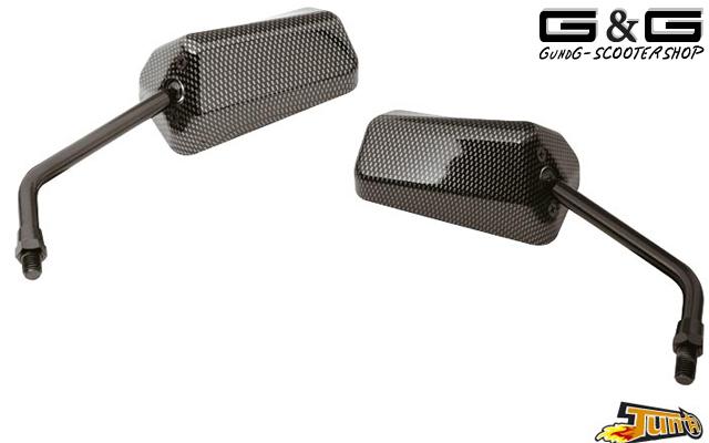 2x carbon f1 spiegel kurzgewinde m10 motorrad quad roller. Black Bedroom Furniture Sets. Home Design Ideas