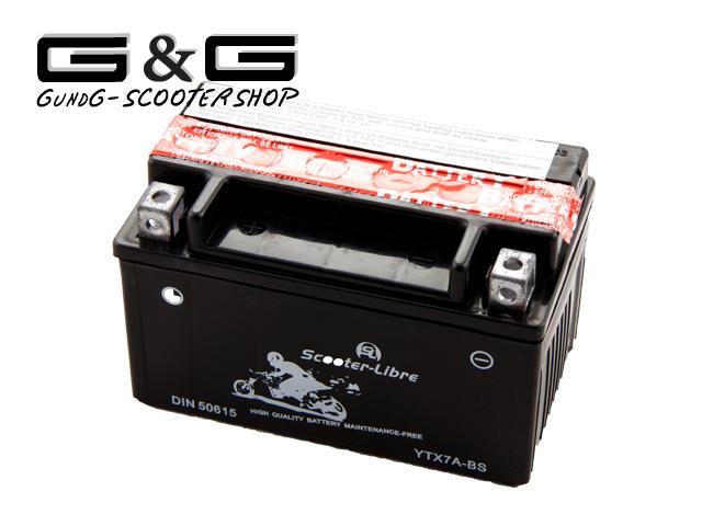 batterie starterbatterie 12v 6ah ytx7a bs wartungsfrei. Black Bedroom Furniture Sets. Home Design Ideas