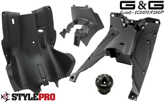 Beinschild Innenraum schwarz metallic glänzend Yamaha Aerox Nitro Verkleidung